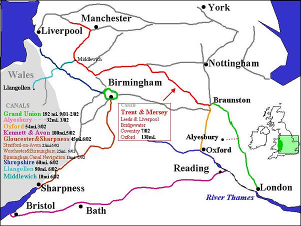 UK map - showing canals and our current area of travel