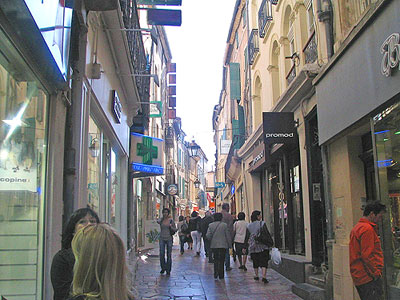 Pedestrian street in Narbonne. Copyright Marlane O'Neill 2009.   All rights reserved